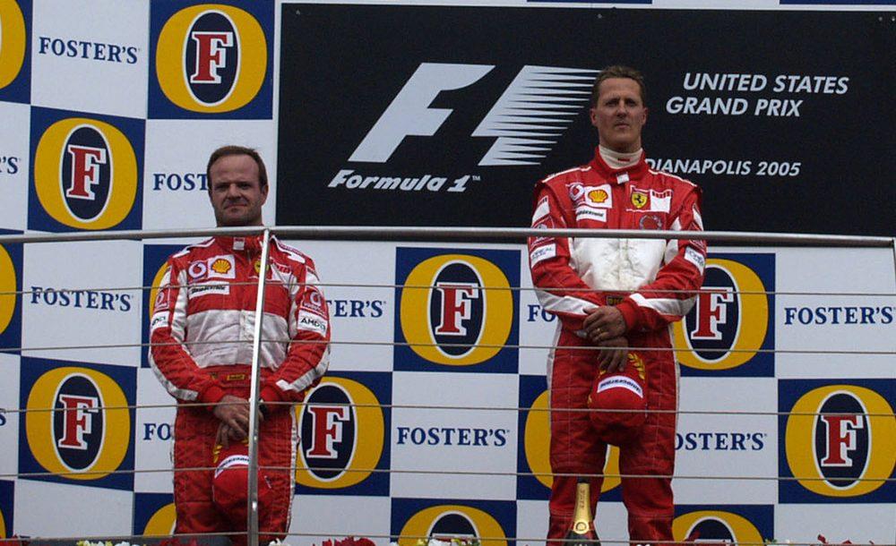 Barrichello e Schumacher estiveram no pódio em dia de vexame da F1 em Indianápolis