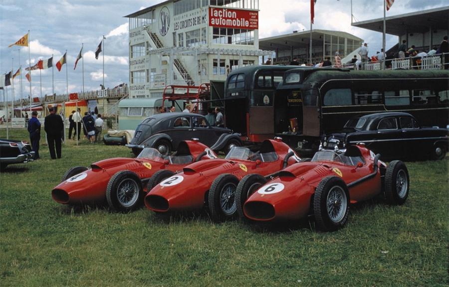 Trio de carros da Ferrari da temporada de 1958