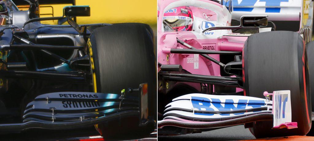 Na parte interna das rodas, os dutos de freios dianteiros do Mercedes W10 e da Racing Point RP20