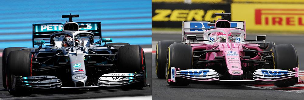 Comparação frontal do W10 da Mercedes de 2019 com o RP20 da Racing Point de 2020