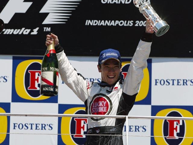Sato conquistou seu primeiro e único pódio na F1 no GP dos EUA de 2004