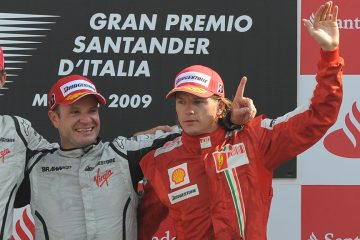 Barrichello e Raikkonen no pódio do GP da Itália de 2009