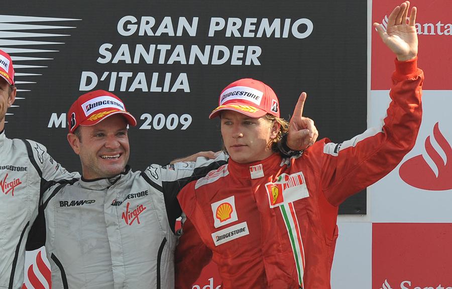 Barrichello e Raikkonen no pódio do GP da Itália de 2009
