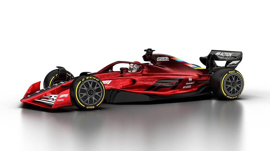 Projeção da F1 de como ficará o carro de 2022. Bargeboards praticamente somem
