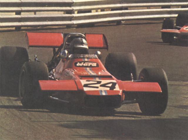 De Tomaso 308 da equipe Frank Williams, pilotado por Piers Courage, no GP de Mônaco de 1970