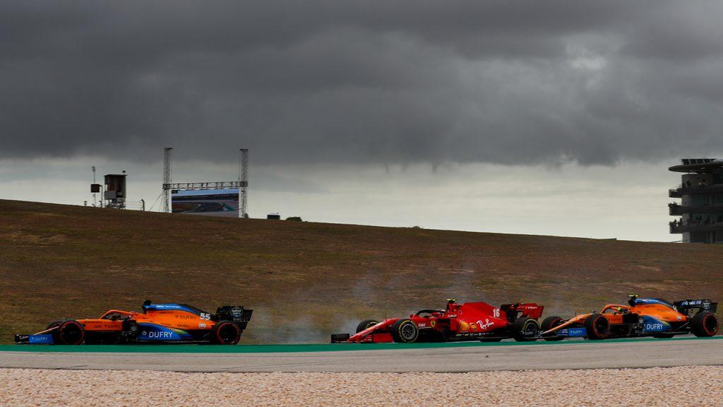 Sainz, Leclerc e Norris na briga durante a primeira volta do GP de Portugal de 2020
