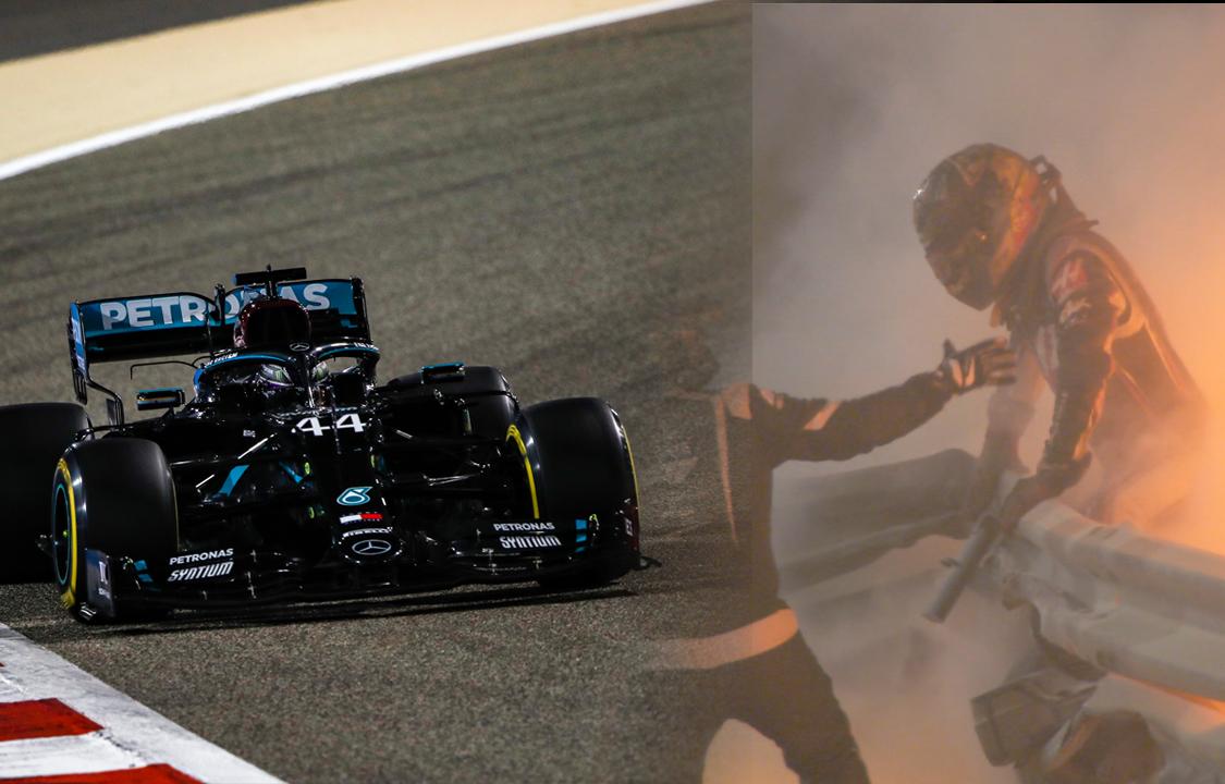 Imagem sobre Em dia de susto de Grosjean, Hamilton sobra no Bahrein