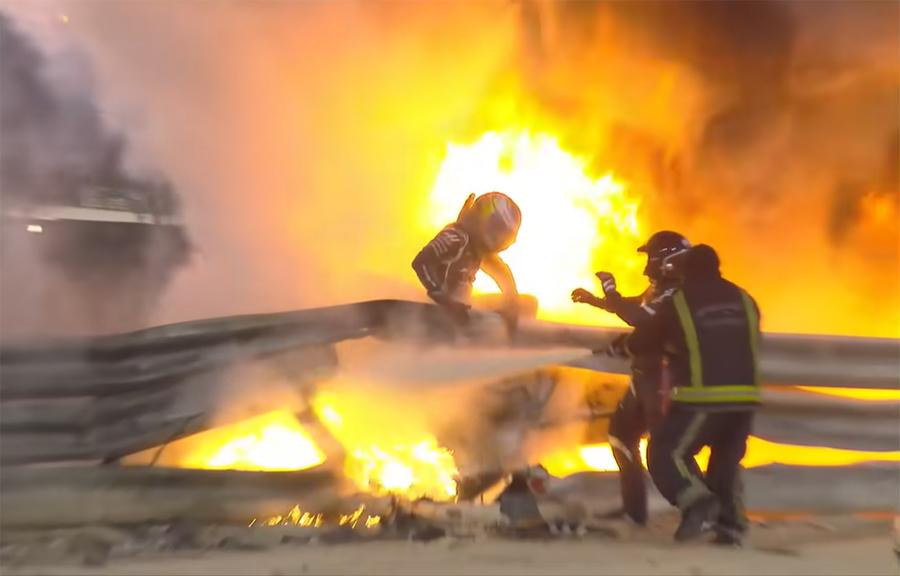 Imagem sobre Detalhes e os itens de segurança no acidente de Grosjean no Bahrein