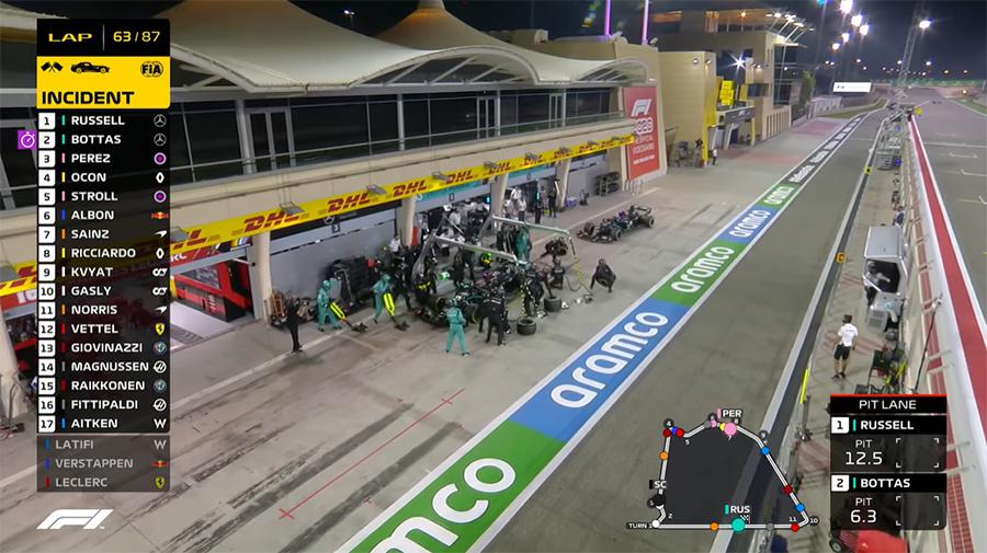 Bottas entra no pit para a troca dupla da Mercedes, algo relativamente comum na F1