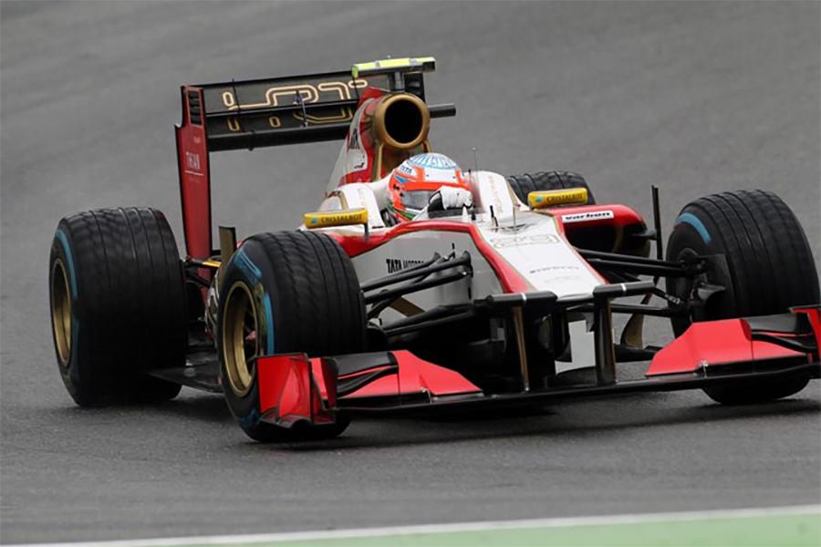 Karthikeyan, no HRT F112. Alguma evolução, mas não o bastante para deixar o fundão do grid
