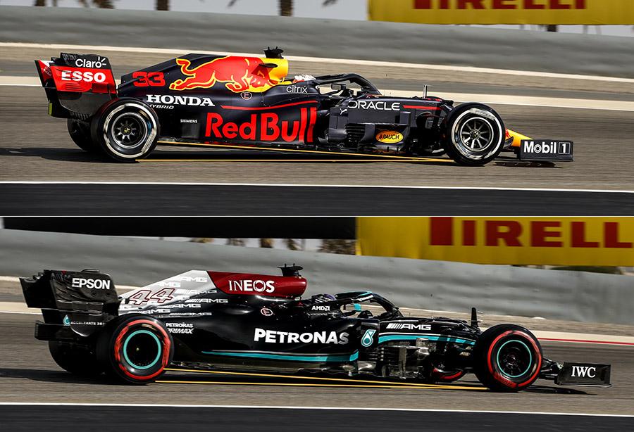 Diferença do ângulo de rake entre carro da Red Bull e da Mercedes é visível a olho nu