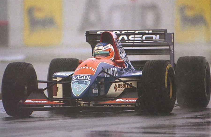 Rubens Barrichello com sua Jordan, no GP da Europa de 1993