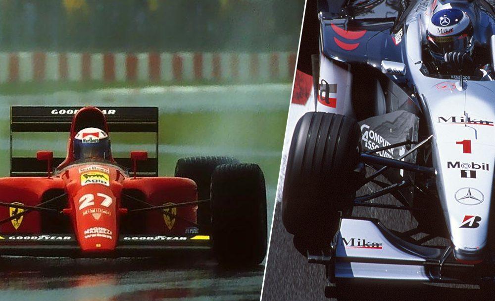 Alain Prost na chuva e pneus com frisos na F1