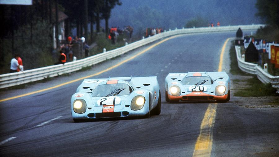Dupla de Porsche 917KH nas 24 Horas de Le Mans de 1971