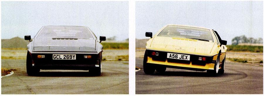 A diferença de inclinação lateral de dois Lotus Esprit com ou sem suspensão ativa