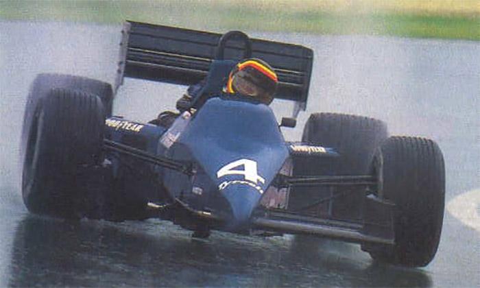 Com o Ford Cosworth aspirado, Bellof se virava com seu Tyrrell e conseguia bons resultados principalmente na chuva