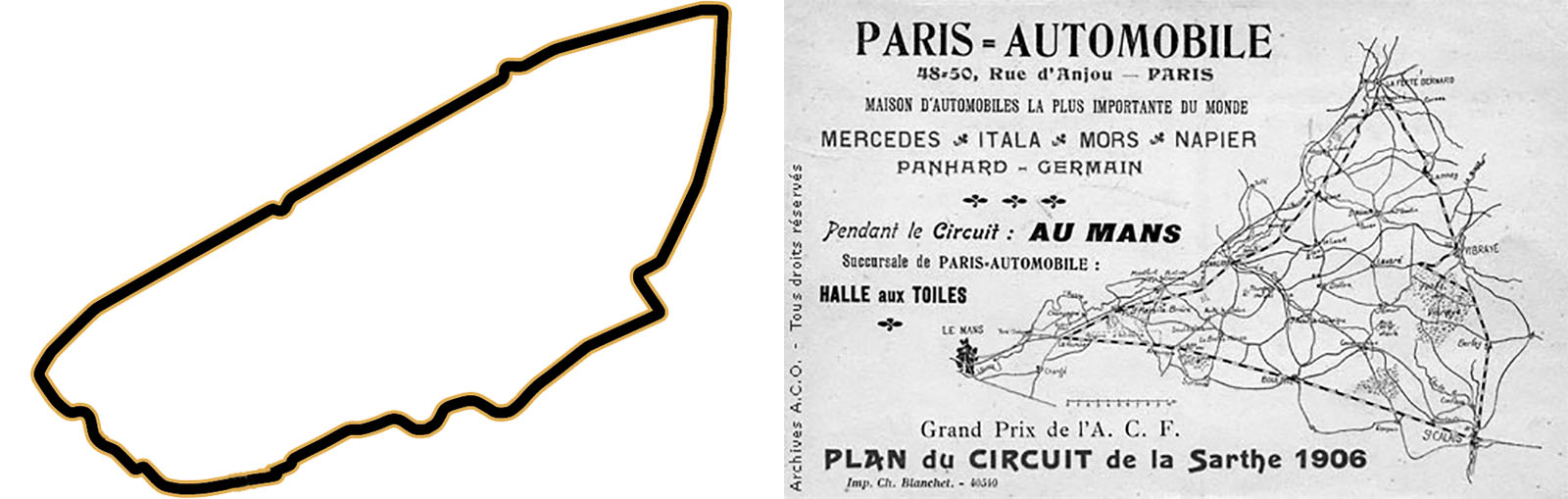 O traçado atual de Le Mans e a pista que recebeu o GP da França na mesma região, em 1906